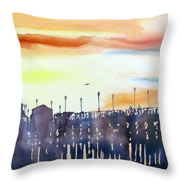Throw Pillow featuring the painting Fishing At Sunset by Tom Riggs