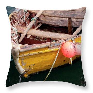 Fishing Boat Throw Pillow by Carlos Caetano