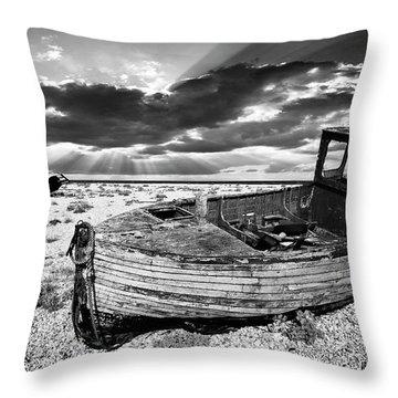 Fishing Boat Graveyard Throw Pillow by Meirion Matthias