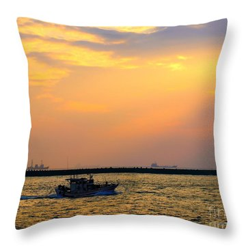 Throw Pillow featuring the photograph Fishing Boat Leaves At Dusk by Yali Shi