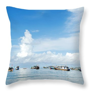 Fishing Boat Throw Pillow by Yew Kwang