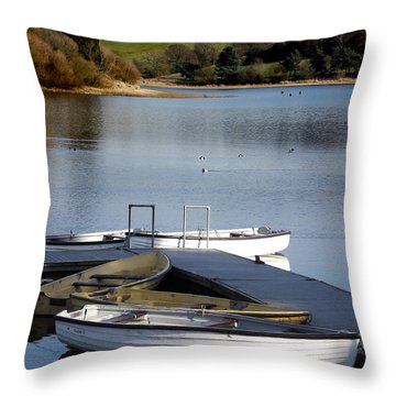 Fishing Boats Throw Pillow by Linsey Williams