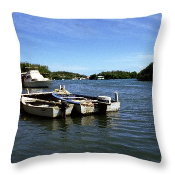 Fishing Boats Paguera Throw Pillow by Thomas R Fletcher