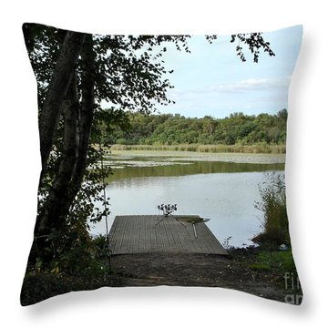 Throw Pillow featuring the photograph Gone Fishing by Katy Mei