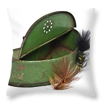 Fishing Lures Throw Pillow by Susan Leggett