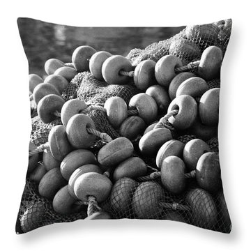 Fishing Nets And Buoys Throw Pillow by Gaspar Avila