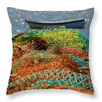 Fishing Nets Throw Pillow by Trevor Chriss