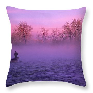 Fishing On The Bow Throw Pillow by Bob Christopher