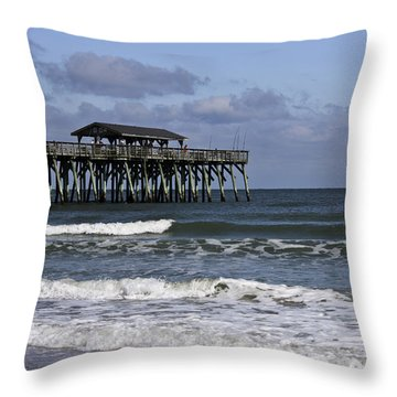 Fishing On The Pier Throw Pillow