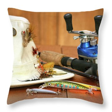 Fishing Reel With Hat And Color Lures Throw Pillow