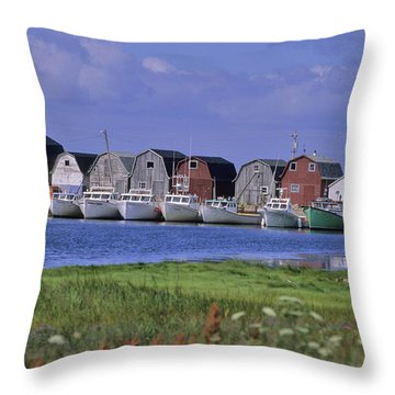 Fishing Shacks Line The Bay At Malpeque Throw Pillow by Leanna Rathkelly