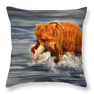 Fishing Throw Pillow by Terry Lewey
