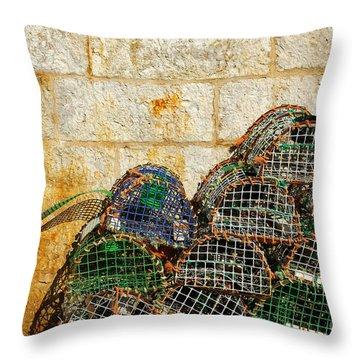 Fishing Traps Throw Pillow by Carlos Caetano