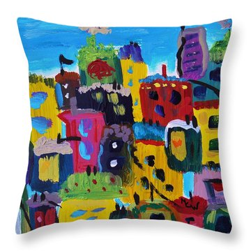 Five Bright Yellow Buildings Throw Pillow by Mary Carol Williams