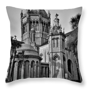 Flagler Memorial Presbyterian Church 3 - Bw Throw Pillow by Christopher Holmes