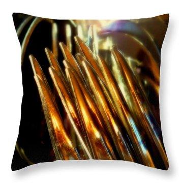 Flames Of Bronze Throw Pillow by Karen Wiles