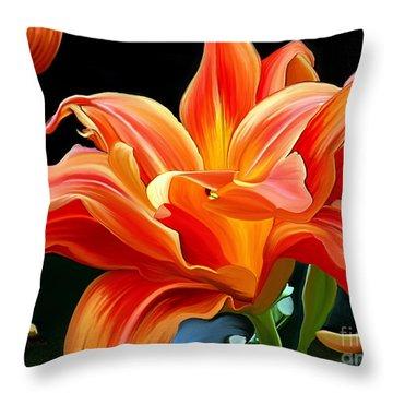 Flaming Flower Throw Pillow