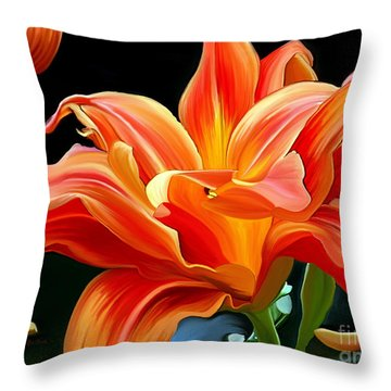 Flaming Flower Throw Pillow by Patricia Griffin Brett