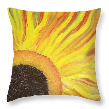 Flaming Sunflower Throw Pillow