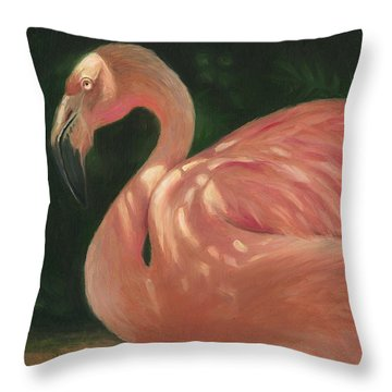 Throw Pillow featuring the painting Flamingo In Dappled Light by Joe Winkler
