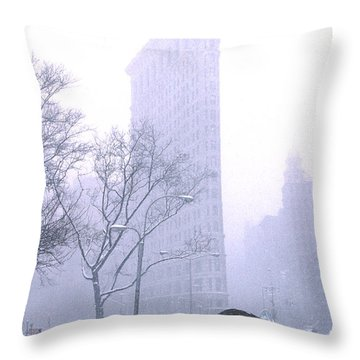 Throw Pillow featuring the photograph Flatiron Building In A Major Snowstorm by Tom Wurl