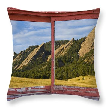 Flatirons Boulder Colorado Red Barn Picture Window Frame Photos  Throw Pillow by James BO  Insogna