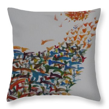 Throw Pillow featuring the painting Fleet Of Birds by Sonali Gangane