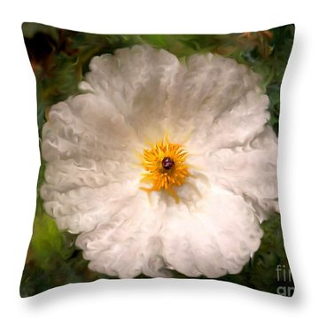 Fleur Blanche Throw Pillow by Sylvie Leandre