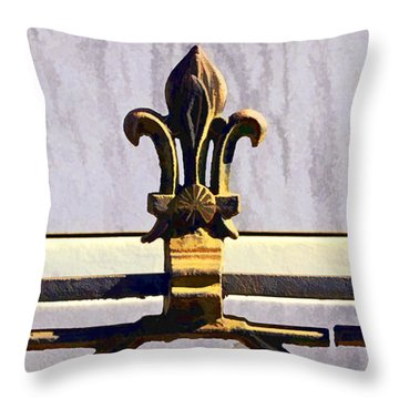 Fleur De Lis Painted Throw Pillow by Kathleen K Parker