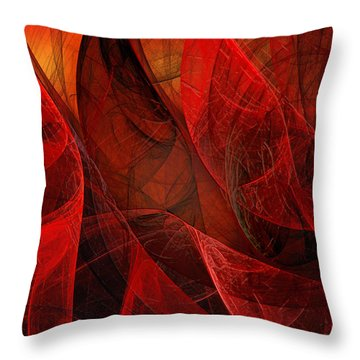 Flickering Flaming Fractal 2 Throw Pillow by Andee Design