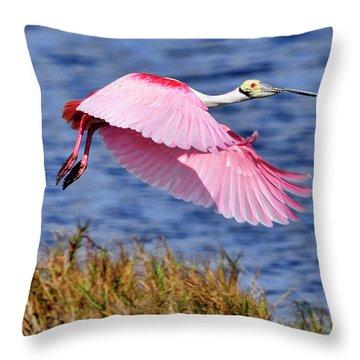 Flight A Roseate Spoonbill Throw Pillow