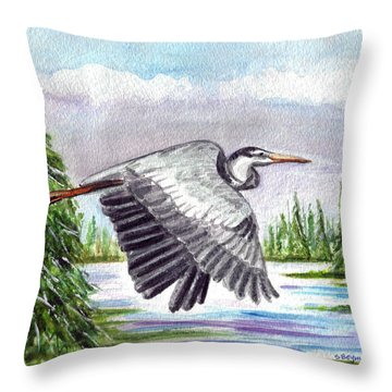 Throw Pillow featuring the painting Flight Of Fantasy by Clara Sue Beym