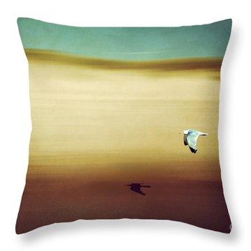 Flight Over The Beach Throw Pillow by Hannes Cmarits