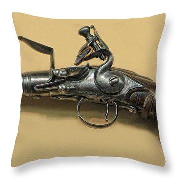 Flintlock Pistol Throw Pillow by Dave Mills