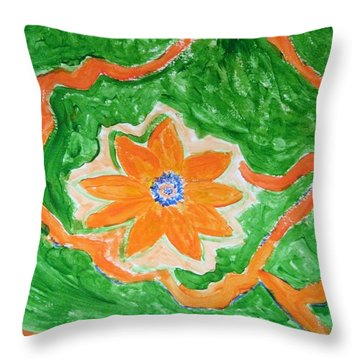 Throw Pillow featuring the painting Floating Flower by Sonali Gangane