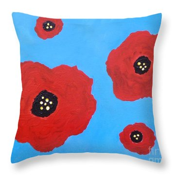 Throw Pillow featuring the painting Floating Flowers by Alys Caviness-Gober