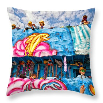 Floating Thru Mardi Gras Throw Pillow by Steve Harrington