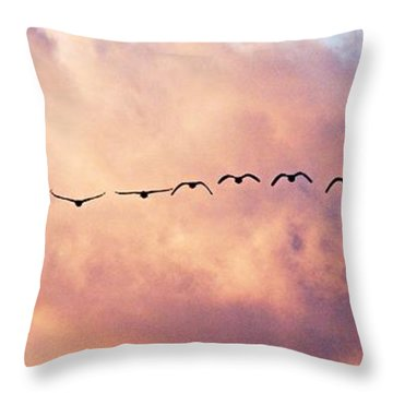 Flock Of Geese At Sunset Throw Pillow by Larry Ricker