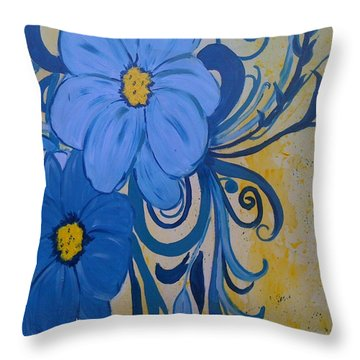 Floral Blue Throw Pillow by Judi Goodwin