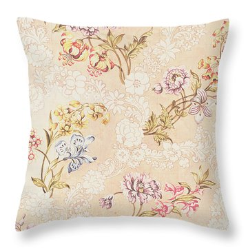 Floral Design With Peonies Lilies And Roses Throw Pillow by Anna Maria Garthwaite