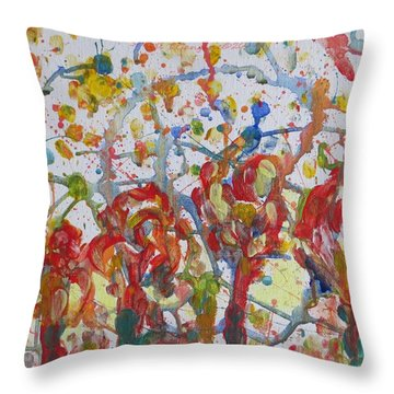 Throw Pillow featuring the painting Floral Feel by Sonali Gangane