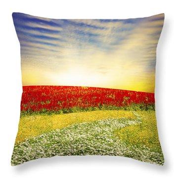 Floral Field On Sunset Throw Pillow by Setsiri Silapasuwanchai
