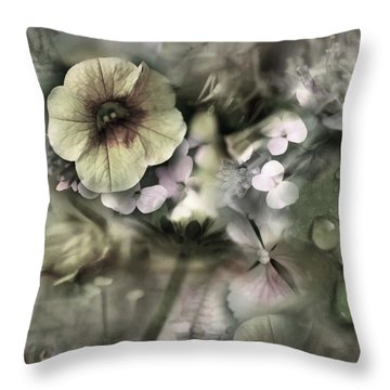 Floral Montage Throw Pillow by Bonnie Bruno