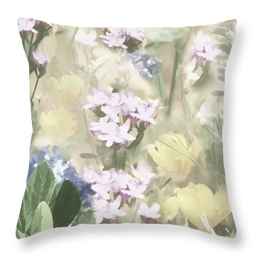 Floral Montage No. 4 Throw Pillow by Bonnie Bruno