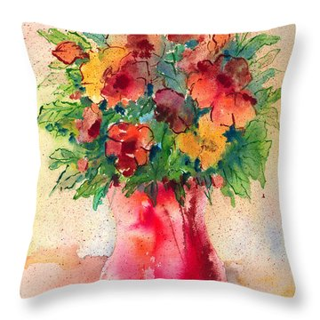 Floral Still Life Throw Pillow by Arline Wagner