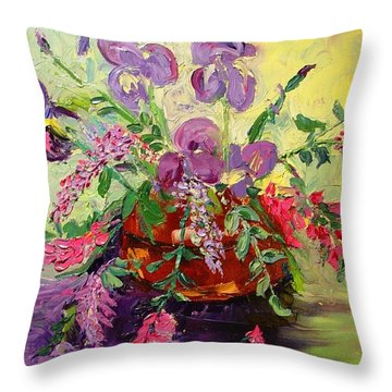 Throw Pillow featuring the painting Floral With Knives by Carol Berning