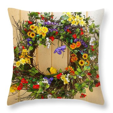 Throw Pillow featuring the photograph Floral Wreath by Cindy Haggerty