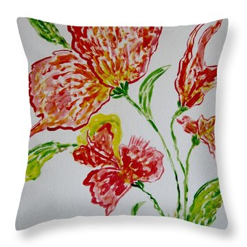 Throw Pillow featuring the painting Florals by Sonali Gangane