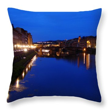 Florence Arno River Night Throw Pillow by Patrick Witz