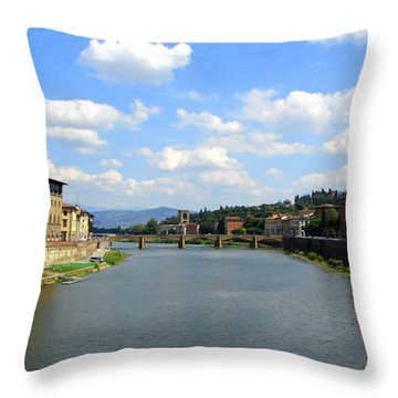 Florence Arno River Throw Pillow by Patrick Witz